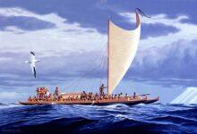 A Wa'a Kaulua (double canoe) of Hawaiian Nobility of the 18th Century. Polynesia was inhabited by skilled seafarers.