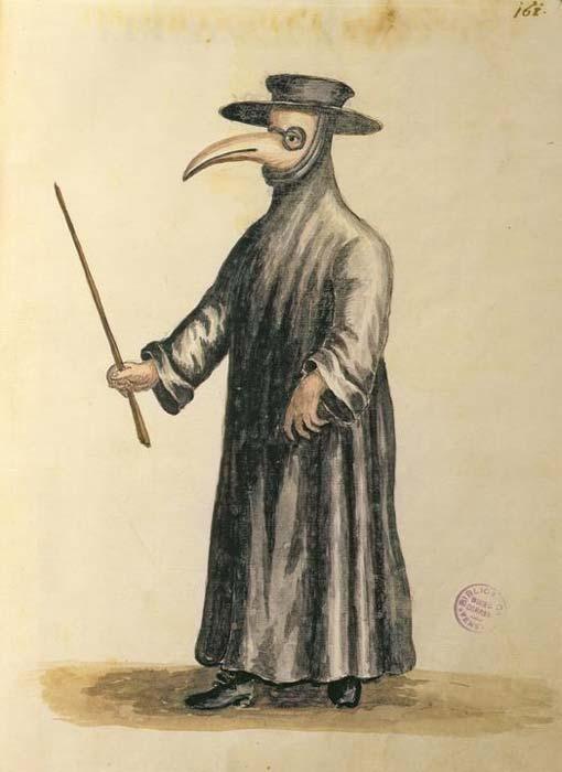 Jan van Grevenbroeck (1731-1807), médecin vénitien à l'époque de la peste. Plume, encre et aquarelle sur papier. Museo Correr, Venise