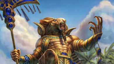 Detail of Khnum, the ram-headed ancient Egyptian god. Source: PTimm/Deviantart