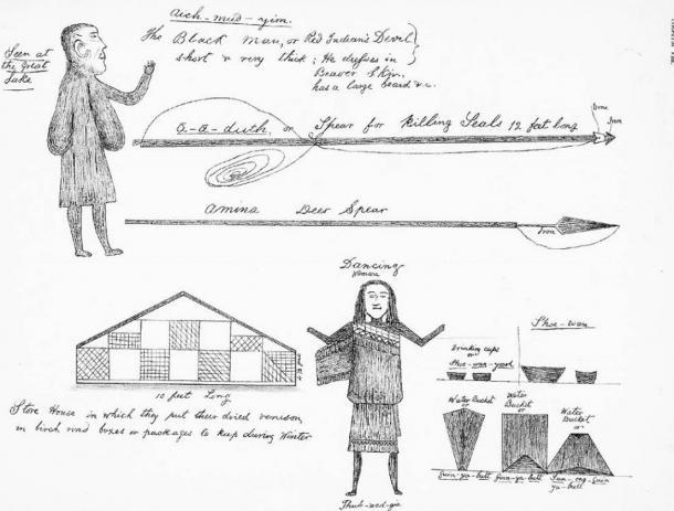 Des dessins de Béothuks par Shanawdithit (le dernier membre connu du peuple Béothuk) représentant une variété de sujets