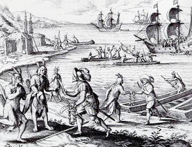 Une représentation fantaisiste de la rencontre de John Guy avec les Béothuks dans la baie de la Trinité en 1612. Tiré de Theodor de Bry,