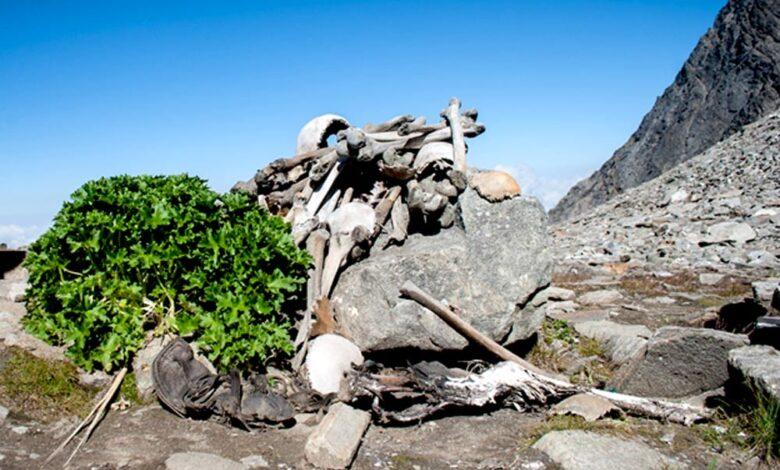Human Skeletons at Roopkund Lake aka Skeleton Lake