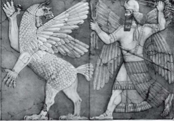 Tiamat et Marduk d'un bas-relief assyrien à Nimrud. (Georgelazenby / Domaine public)