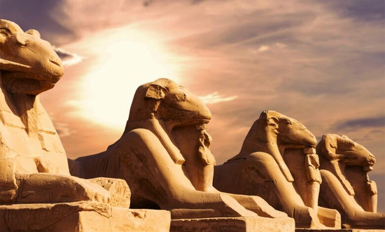 Fragment of the Alley of the Sphinxes in the Karnak Temple, Luxor, Egypt. The image of a sphinx with the head of a ram was a common depiction of the god Amun and this connected him with fertility.                   Source: Anton / Adobe stock