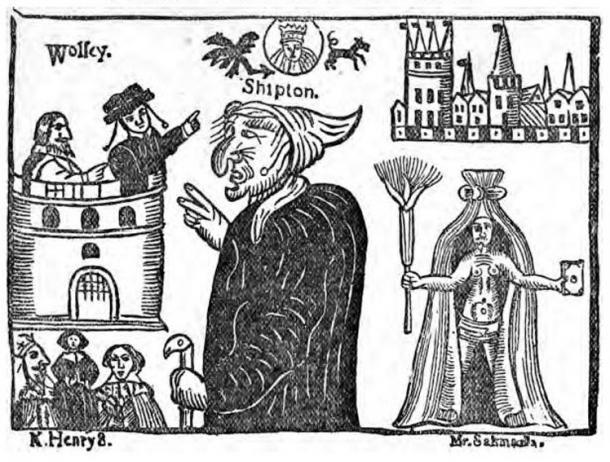 Image de la mère Shipton et du cardinal Wolsey tirée de
