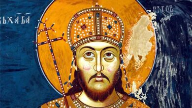 Dušan the Mighty, seen here in a detail of a 14th century fresco at Lesnovo Monastery in the Republic of Macedonia, ousted the Byzantine Empire from power in the region to create the great Serbian Empire which rose in the 1340s to become the leading political and economic power in the Balkans. Source: Public domain.