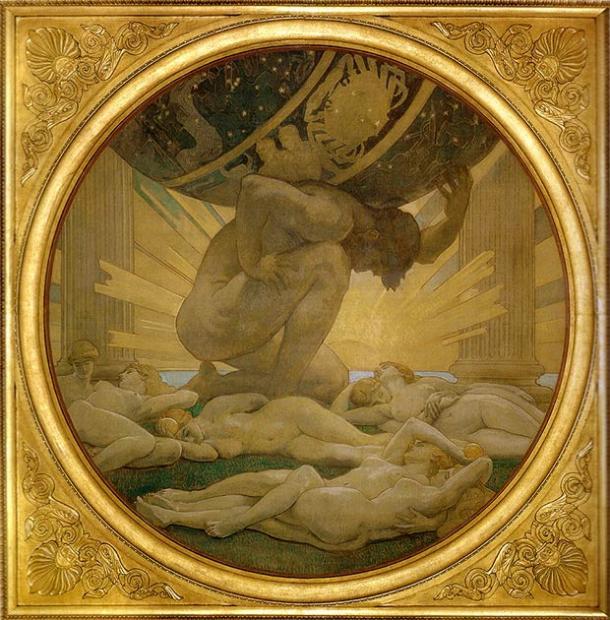 L'Atlas et les Hespérides. (Domaine public)