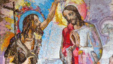 Mosaic of the baptism of Jesus Christ by Saint John the Baptist in Medjugorje, Bosnia and Herzegovina, 2016. Source: Adam Ján Figeľ / Adobe stock