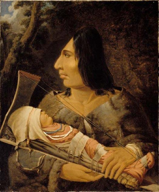 Peinture de Paul Kane montrant un enfant Chinookan ayant la tête aplatie et un adulte après le processus. (Domaine public)