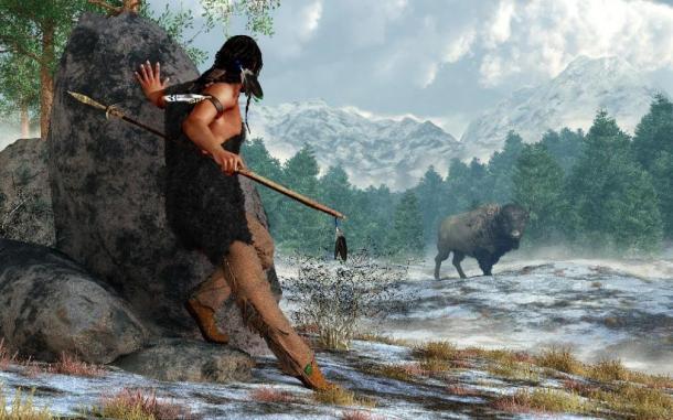 Rendu en 3D d'un chasseur amérindien préhistorique portant des fourrures, un atlas et une lance alors qu'il traque un bison dans une vallée enneigée des montagnes Rocheuses. (Daniel /Adobe Stock)