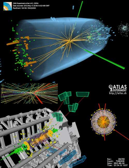 Événements de boson de Higgs provenant de collisions entre les protons du LHC. L'événement le plus important de l'expérience CMS montre une désintégration en deux photons - des lignes jaunes pointillées et des tours vertes. L'événement inférieur de l'expérience ATLAS montre une désintégration en quatre muons - des traces rouges. (Cteirmn / CC BY-SA 3.0)