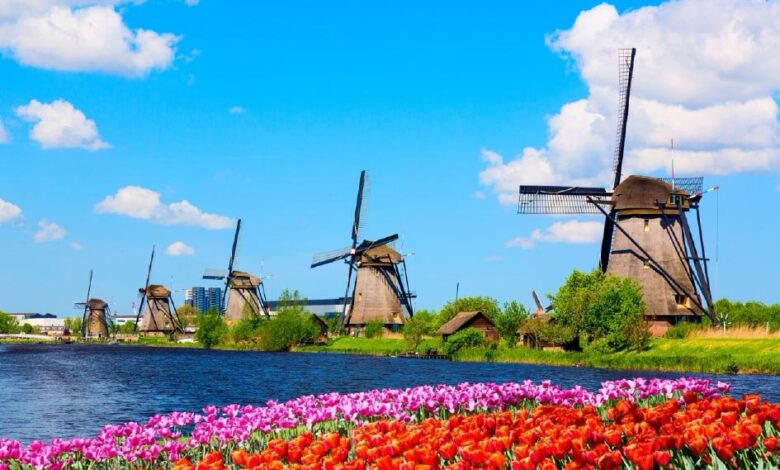 The Kinderdijk Windmills and surrounding waterways during spring, The Netherlands Source:  Nikolay N. Antonov / Adobe Stock