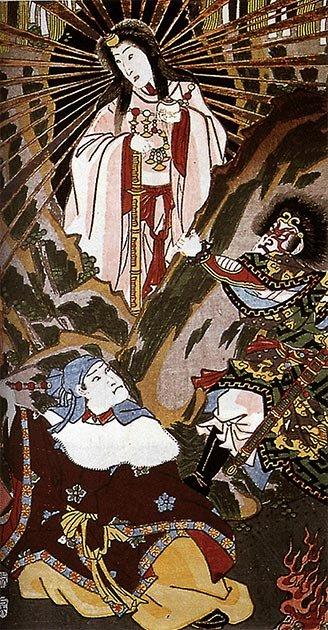 Amaterasu, un des kamis centraux de la foi shintoïste. (Utagawa Kunisada / Domaine public)