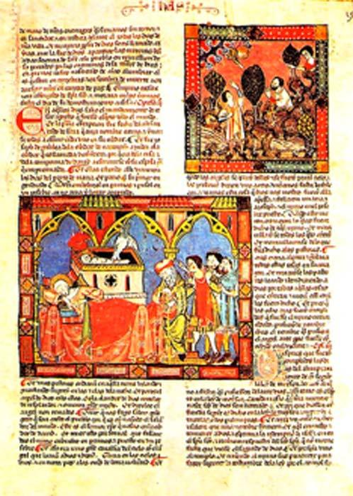 La Códice del Escorial (1272-1284) d'Espagne. Les manuscrits médiévaux utilisaient souvent le pigment minium rouge-orange dans les lettres du texte et pour les petites illustrations, appelées miniatures. (Escarlati / Domaine public)