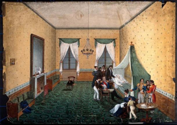 On pense que la mort de Napoléon a été causée par l'arsenic provenant du pigment vert du papier peint et de la peinture de sa chambre. (Fæ / Domaine public)