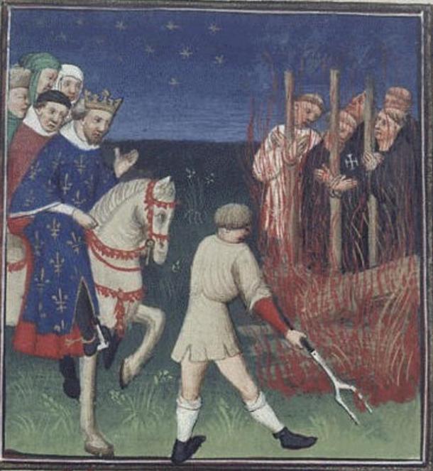 Exécution des Templiers devant Philippe le Bel. (vers 1415-1420)