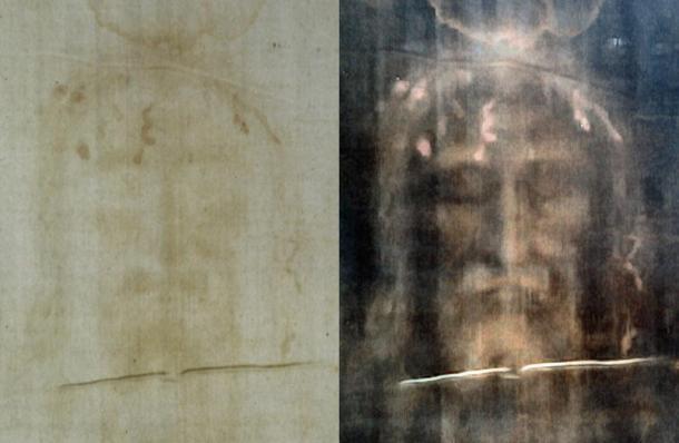 Images positives et négatives du Suaire de Turin.