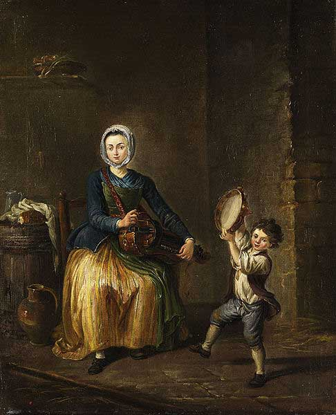 Jeune femme avec une vielle à roue et un enfant avec un tambourin, XVIIIe siècle.