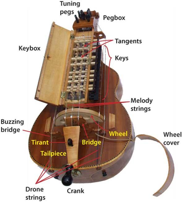Illustration des parties d'une vielle à roue.