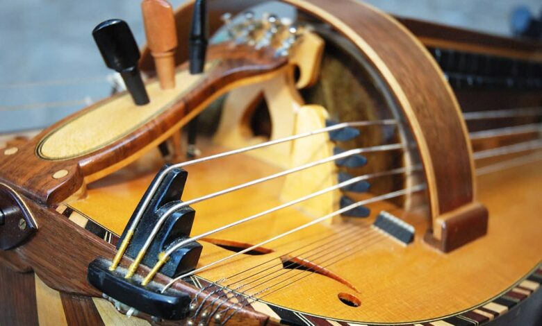 Detail of a hurdy gurdy