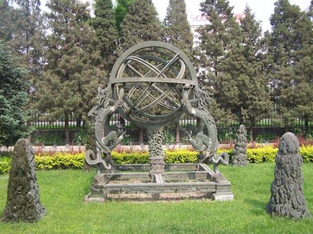 Sphère armillaire dans l'ancien observatoire, Pékin, Chine.
