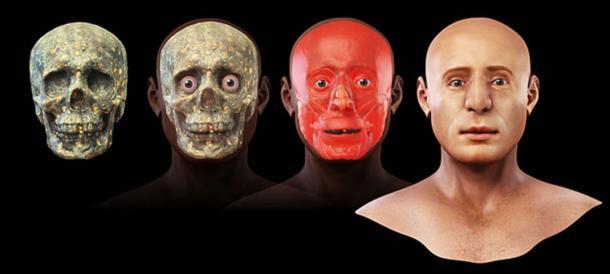 Etapes de la reconstruction faciale en 3D. (Cicero Moraes / CC BY-SA 3.0)
