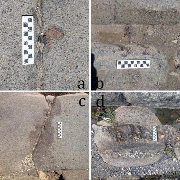 Des restes de fer trouvés dans les rues de Pompéi :