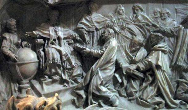 Détail de la tombe du pape Grégoire XIII célébrant l'introduction du calendrier grégorien.