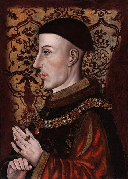 Catherine de Valois a épousé le roi Henri V d'Angleterre en 1420. Portrait posthume d'Henri au XVIe siècle. (Domaine public)