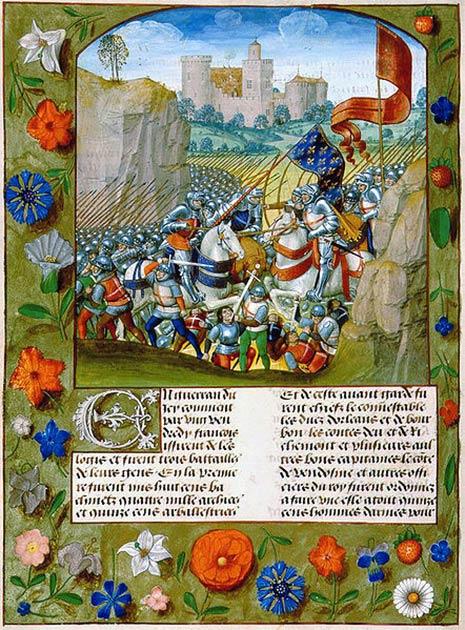 La bataille d'Agincourt dans une miniature tirée de la Chronique de France d'Enguerrand de Monstrelet. (Enguerrand de Monstrelet / Domaine public)