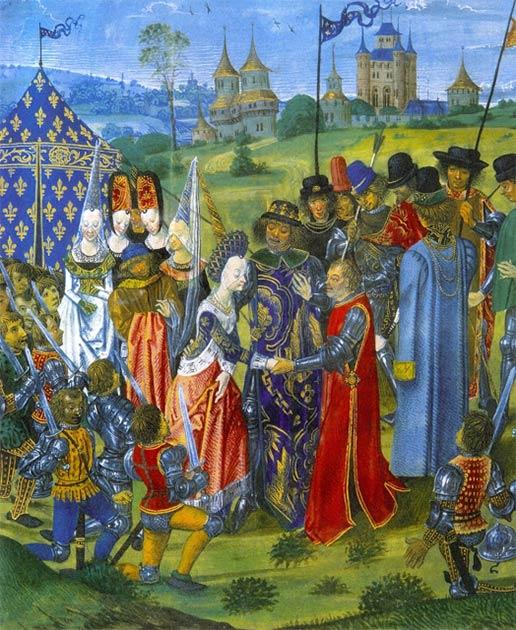 Au lendemain de la campagne militaire réussie d'Henry en France, pendant la guerre de Cent Ans, le traité de Troyes visait à apporter la paix à l'Angleterre et à la France. Le traité prévoyait le mariage de Catherine de Valois, fille de Charles VI de France, avec Henri V d'Angleterre. (Domaine public)