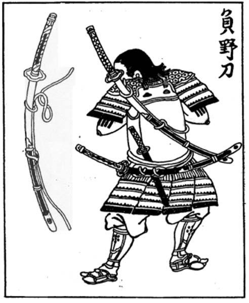 Une gravure sur bois japonaise de la période Edo représentant un samouraï portant un nodachi (épée des champs) sur le dos.