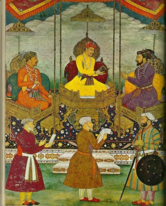 Peinture miniature de Bitchitr datant d'environ 1630 - maintenant à la Chester Beatty Library, Dublin. Elle représente trois des plus importants empereurs de la période moghole : Akbar est au centre, son fils, Jahangir, est à sa droite, et son petit-fils, Shah Jahan, est à sa gauche. Le tableau a été commandé par Shah Jahan, le constructeur du Taj Mahal. (Nathan Hughes Hamilton/CC BY 2.0)