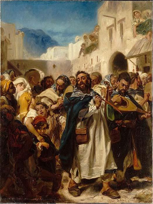 Festival juif de Tétouan, Alfred Dehodencq, 1865, Musée d'art et d'histoire du judaïsme de Paris. (Domaine public)