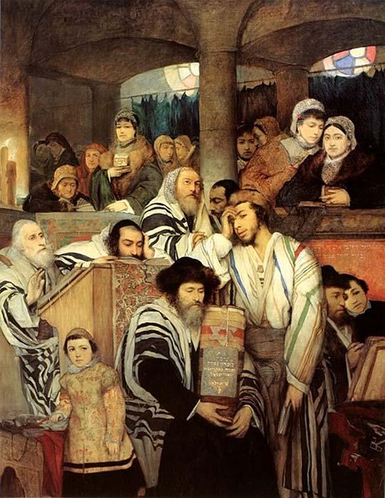 Juifs ashkénazes priant dans la synagogue de Yom Kippour. (peinture de 1878 de Maurycy Gottlieb). (Domaine public)