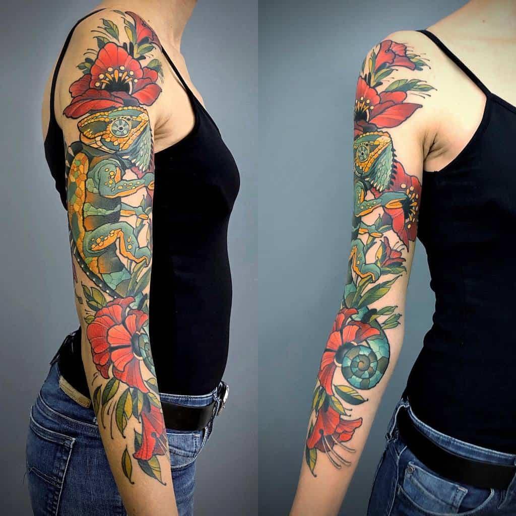 Manchon de tatouage de fleurs japonais jonpall_art