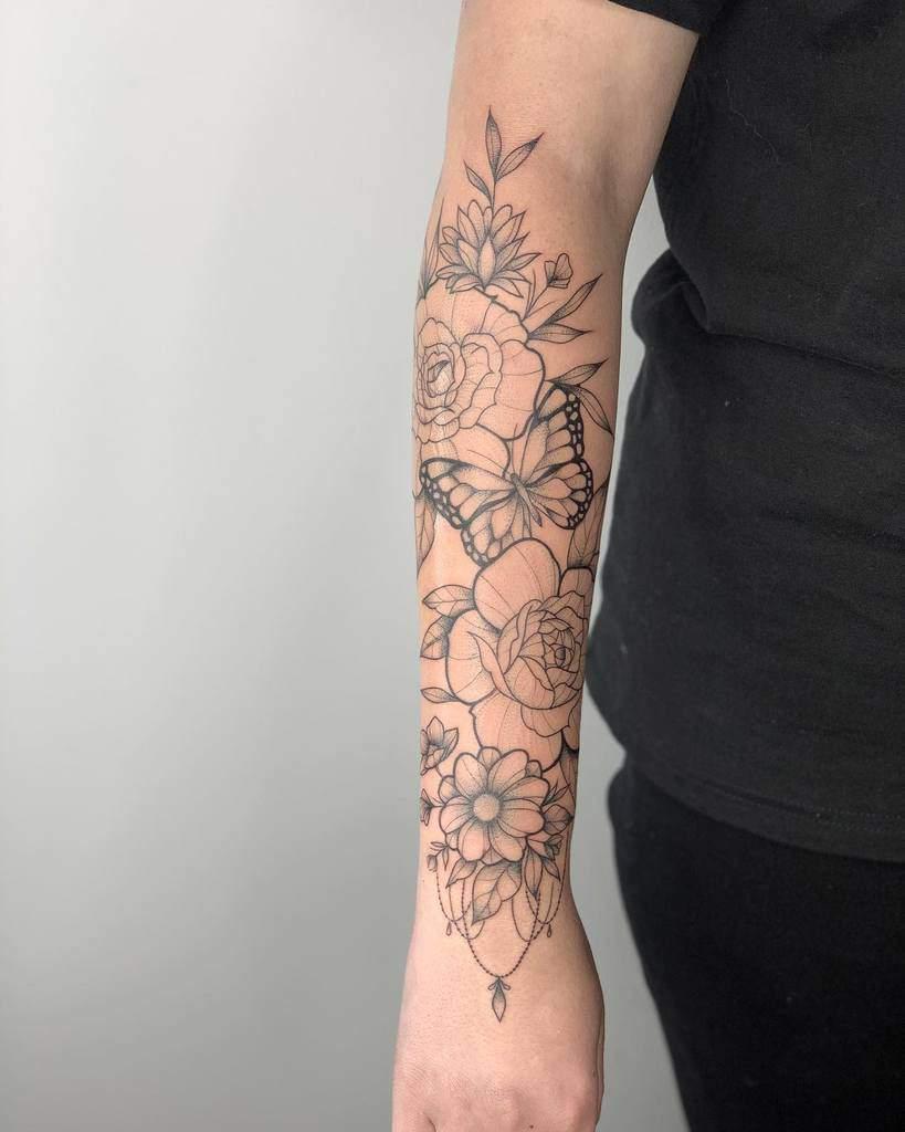 Ligne Tatouage Fleur Manchon artblanche_