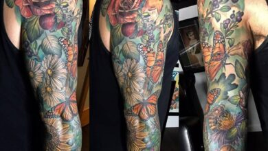 Top 49 Best Flower Tattoo Sleeve Ideas – [2020 Inspiration Guide]