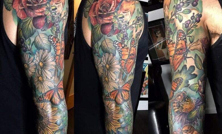Top 49 Best Flower Tattoo Sleeve Ideas – [2020 Inspiration Guide]