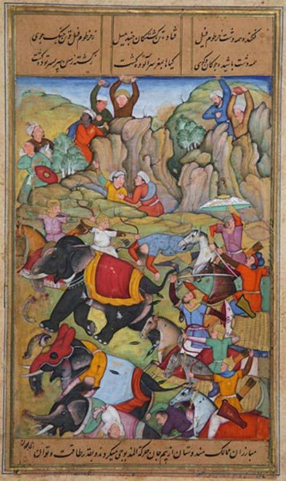 La défaite par Timur du sultan de Delhi, Nasir Al-Din Mahmum Tughlaq, durant l'hiver 1397-1398. (Stuntelaar / Domaine public)