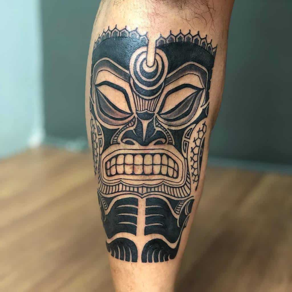 Tatouages de petites jambes tribales eddieborneoink