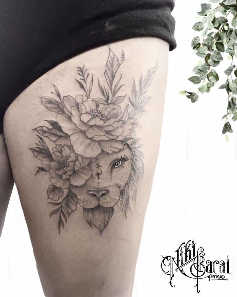 Tatouages de la hanche et de la cuisse du petit lion nikibarai.tattoo