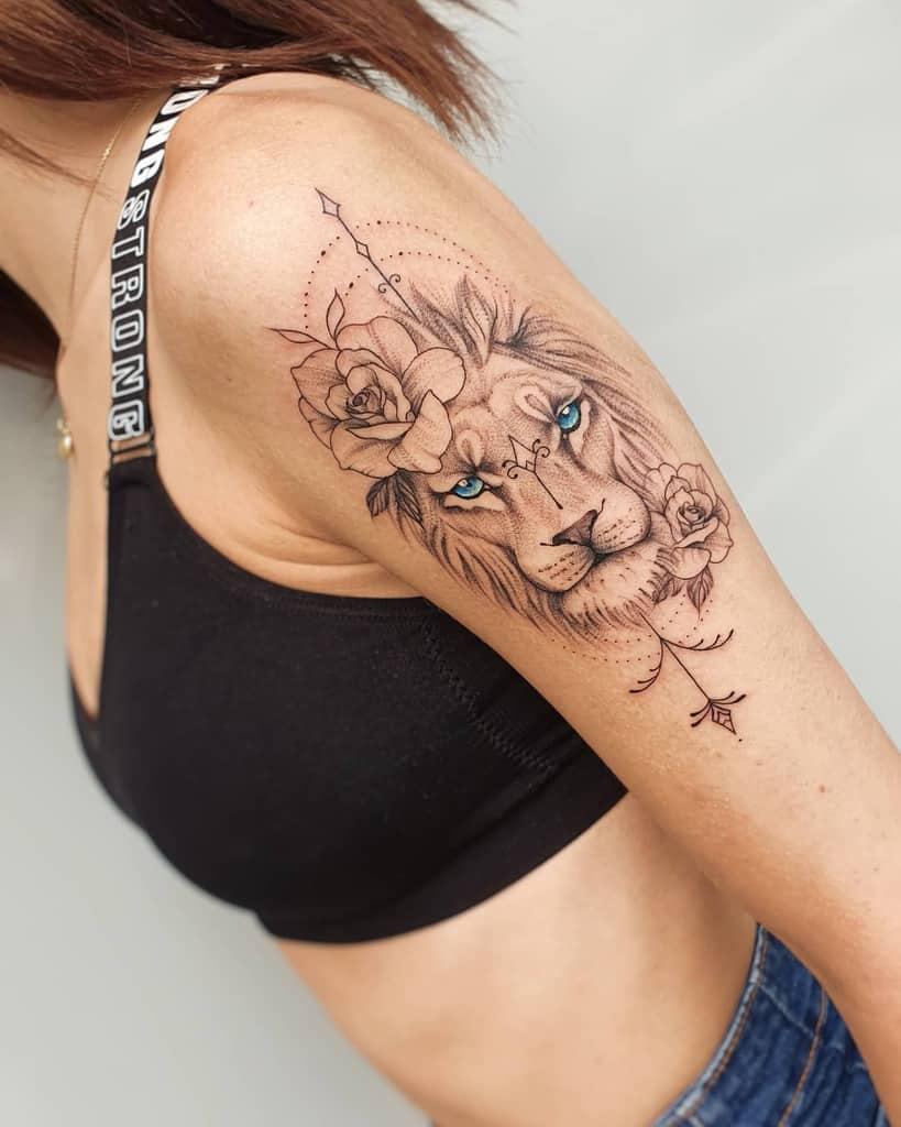 Tatouages du bras supérieur du petit lion regnum_draconis_tattoo