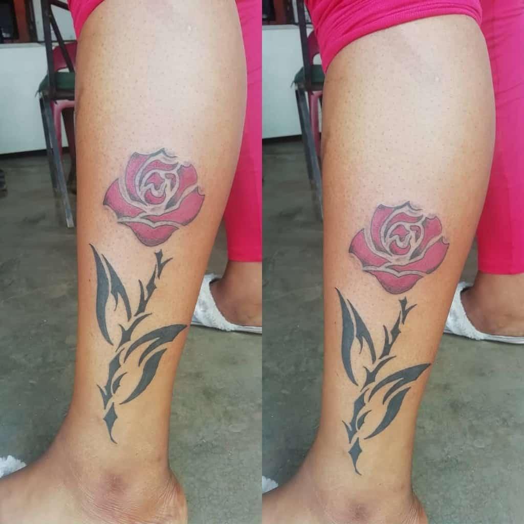 tatouages de roses sur les jambes ct_inkstudios