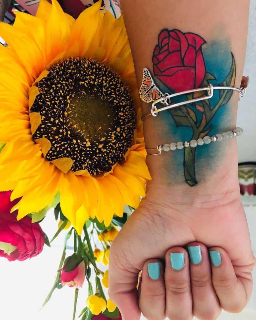 La beauté de l'aquarelle et la rose des bêtes tatouages eyremg