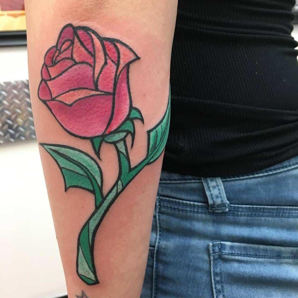 beauté simple et la bête rose tatouages meltattoos9