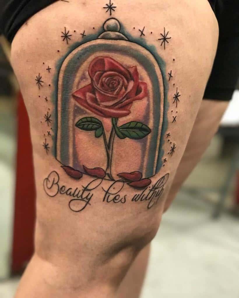 vitrail beauté et la bête rose tatouages arlene2888