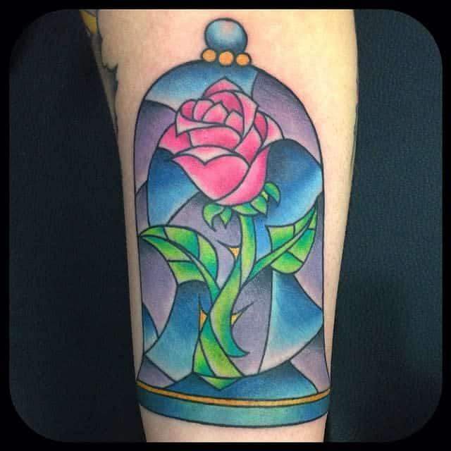 vitrail beauté et la bête rose tatouages shaunbushnell