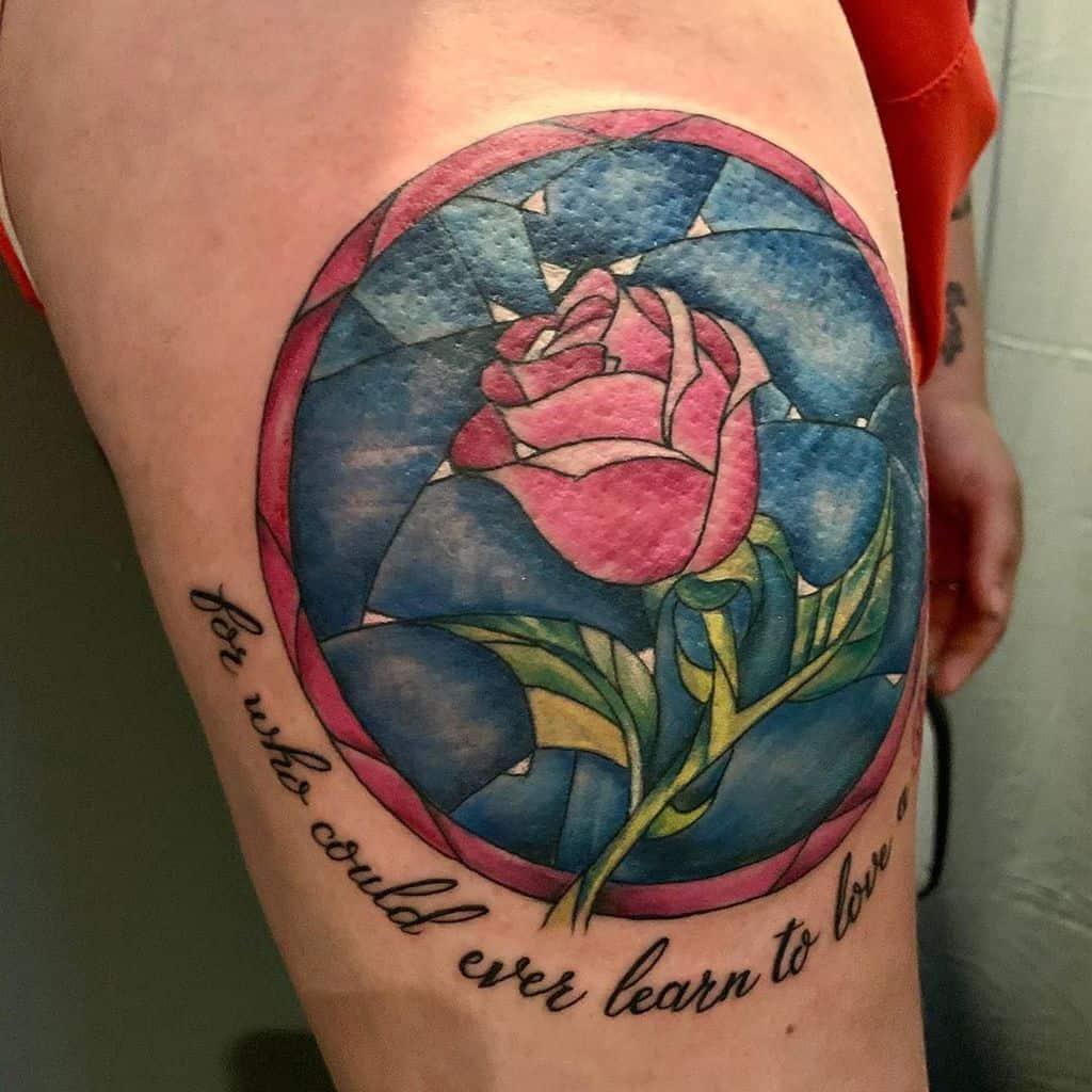 vitrail beauté et la bête rose tatouages oregon_city_tattoo