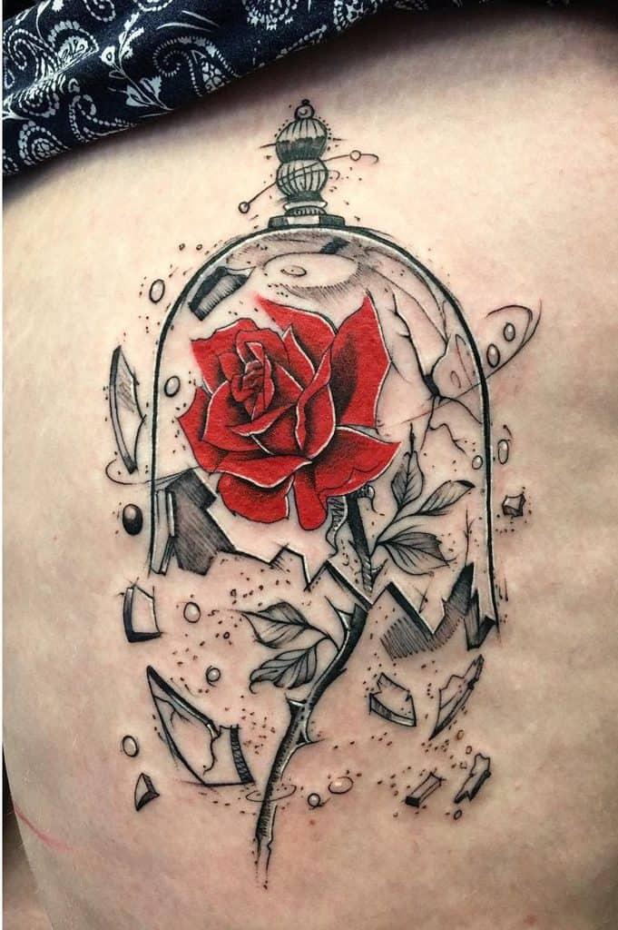 vitrail beauté et la bête rose tatouages gypsyestattoo